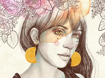 Luna menguante illustration art mujer procreate retrato luna