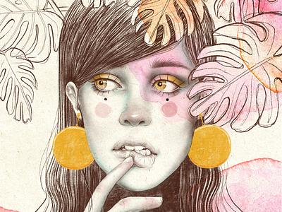Luna llena jewels illustration retrato art procreate mujer