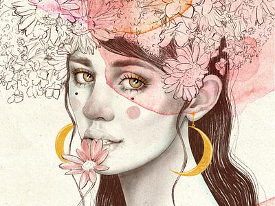 Luna creciente retrato jewels luna illustration.mujer art procreate