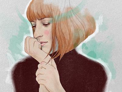 Self portrait girl illustration ipad pro procreate digital art portrait art