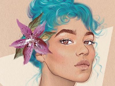 Digital Portrait flower ipad pro digital portrait digital art procreate art