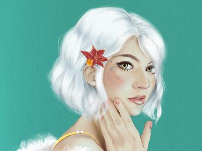 White Hair illustration ipad pro procreate digital art portrait art