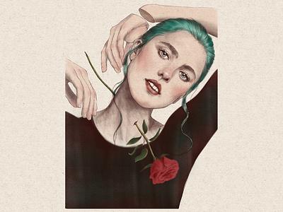Rose pasión illustration ipad pro digital digital art portrait art
