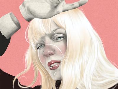 Karina digital illustration bolis editorial cover book hair blond retrato portrait dibujo digital illustration ipad pro procreate art