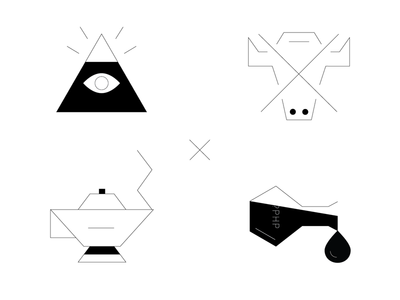 Abstract geometric icons for a dev team