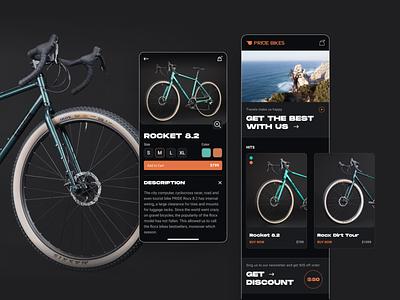 Pride Bikes // Mobile app sport shop application app catalog bicycle bike uxui ux design ux design web design uxdesign uidesign ui  ux uiux ui design ui