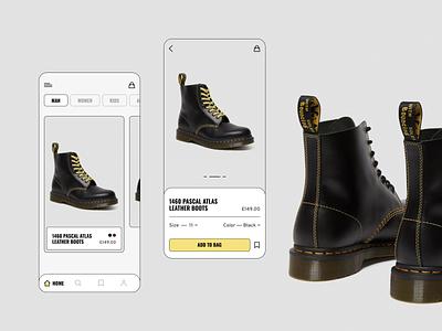 Dr. Martens modern fashion shop boots dr martens dr. martens mobile ui mobile app mobile app ux design uxdesign ux uidesign design ui  ux uiux ui design ui