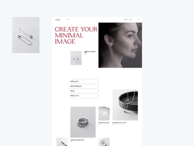 Minimalist Jewelry web branding silver modern fashion grid jewelry minimal main web design ux design uxdesign ux uiux uidesign design ui  ux ui design ui