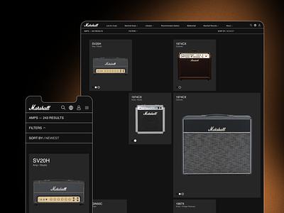 Marshall dark amp history typogaphy marshall modern catalog web design ux design uxdesign ux uiux uidesign design ui  ux ui design ui