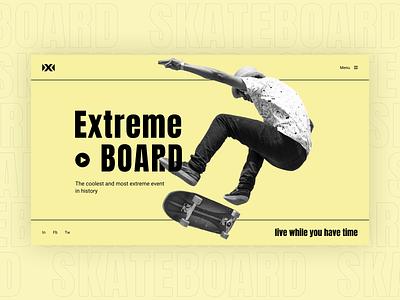 Extreme Board // Web Concept web minimal monochrome yellow skateboard extreme sport extreme interface ux  ui uxui ux design ux design web design uxdesign uidesign ui  ux uiux ui design ui