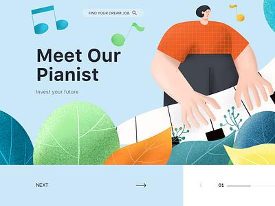 Pianist procreate illustration