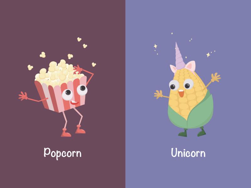 Unicorn, Popcorn avatar eyes emotion vector popcorn unicorn