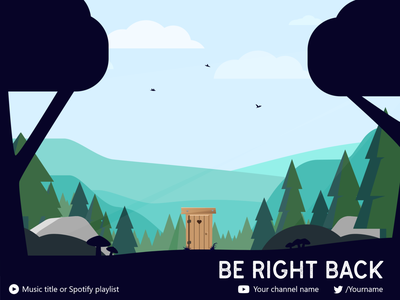 🌲 Twitch - intermission screen 🌲 screen obs stream illustration sun wc outhouse trees birds nature forest music twitter youtube be right back break intermisson twitch