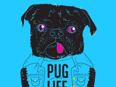PUG LIFE illustration cool bestial pet dog pug