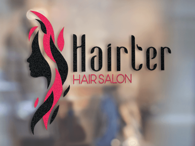 Logo Design - Hairter Hair Salon hair studio idenity hair cut minimalism black and red hairstyle hair salon graphic design typography logo design branding