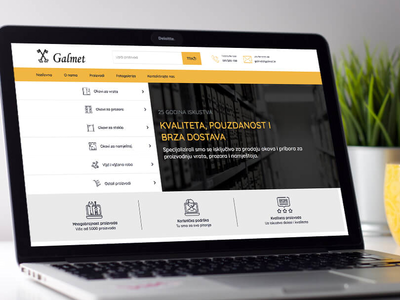 Web Development - Galmet modern white web design products tools manufacture yellow services webshop