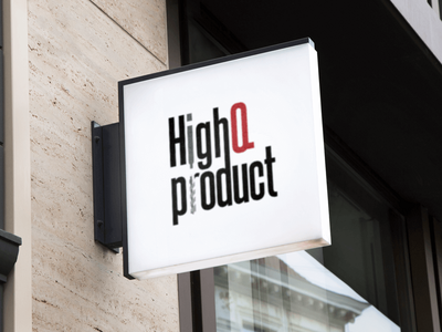 Logo Design - HighQ Product bold typography brand simple clean minimalistic branding black and red black service manufacture logo design
