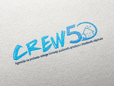 Logo Design - Crew50 house blue cleaning services cleaning company crew cleaning service cleaning typography modern branding