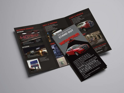 Brochure design - Wraptor Signs & Graphics flat clean graphic design vector creative brand design illustration dark theme modern brochure layout brochure design canada signage car design vehicle wrap flyer brochure branding