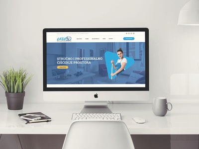 Website Development - Crew50 branding flat modern business website blue and white cleaning company cleaning service cleaning web design website