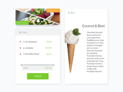 UI Components for ordering app menu ui components ice cream