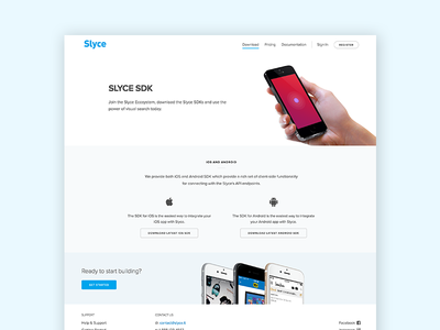 Slyce Developer Portal ui light interface web design download sdk slyce