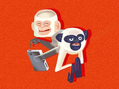 2Monkeys caracter concept vector illustration