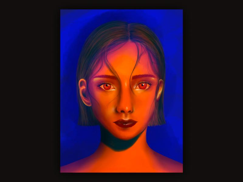 Cyber girl digital drawing drawing procreate portrait girl illustration