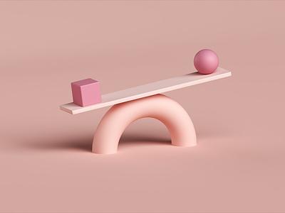 Balance 3d design pink scene monochrome weigh scale adobe dimension 3d balance