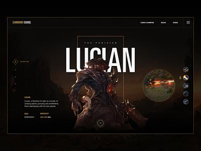 Summoner School - Champion lol league of legends dark concept website ui ux clean game design gameui web design typography