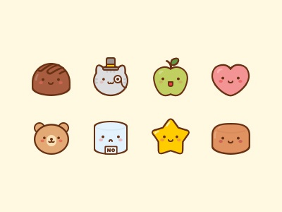 Sweet Cakes Icons illustration vector cake star sugar bear heart apple cat chocolate icon