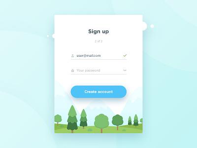 Sign Up form flat design clean ios form web app vector sign up ux ui illustration