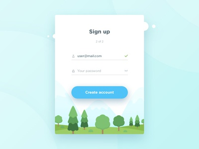 Sign Up form flat design clean ios form web app vector sign up ux ui illustration