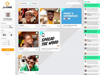 Feed One web app cards web app non-profit charity austin