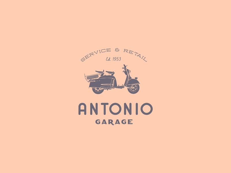 Antonio Garage brand badge display typeface font logo typography handcrafted vintage retro