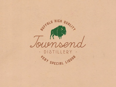 Townsend Distillery display design vintage label branding typeface handcrafted logo font typography