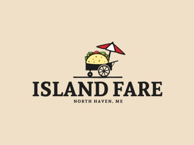 Island Fare Logo mexican food restaurant bar holidays food umbrella beach branding logo fastfood taco