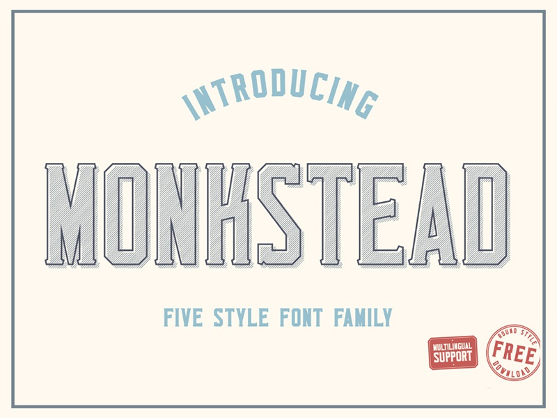 Monkstead Font (round style for free) block font label logo header title serif stamp layered vintage retro font