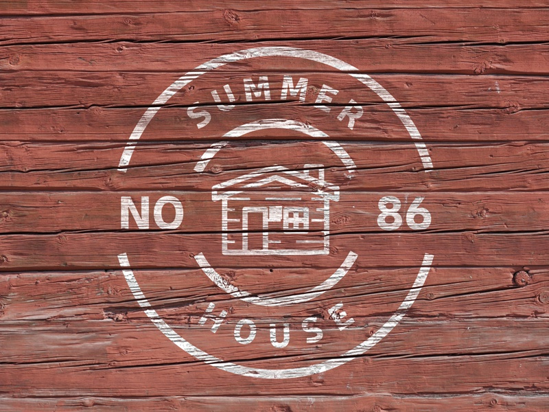 Summer House - Mini Logo design mockup wood house icon minimalist wanderlust vacation summer house brand icon simple badge label handcrafted display branding logo vintage retro