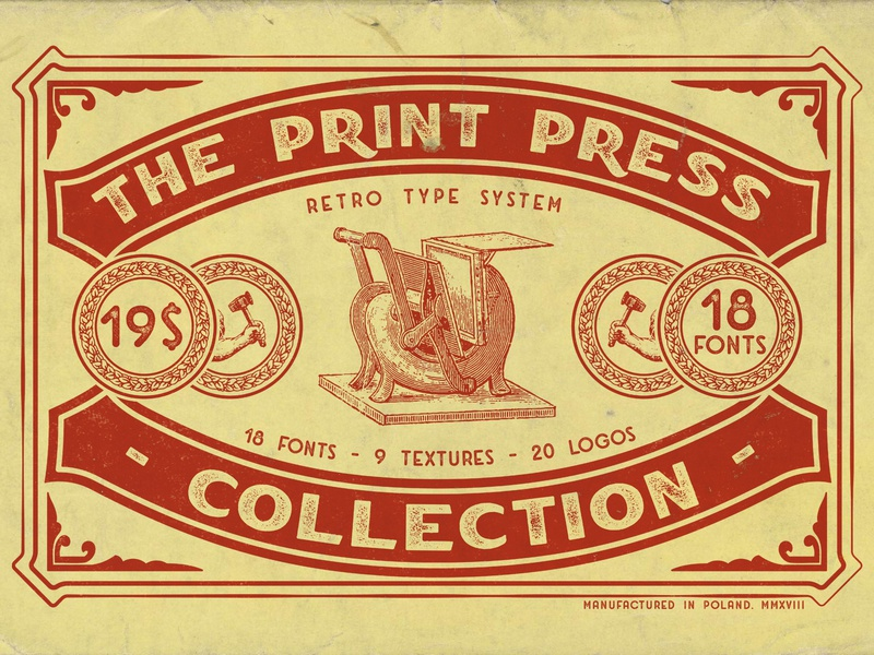 The Print Press Collection logos display font serif badge label font bundle slab serif condensed font type print americana typeface brand handcrafted logo typography font display vintage retro