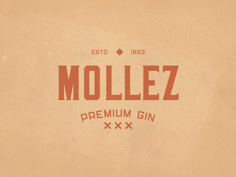 Mollez Gin Logotype old print type liquor logotype display font americana simple design typeface badge branding label typography font display handcrafted logo vintage retro