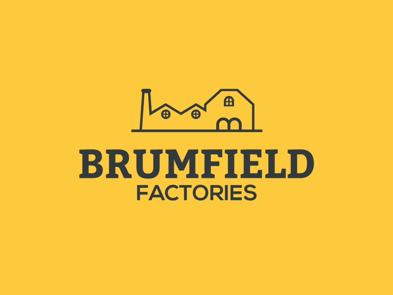 Brumfield Factories manufacture factory flat web app vector design simple icon ui illustration brand badge branding handcrafted logo vintage retro