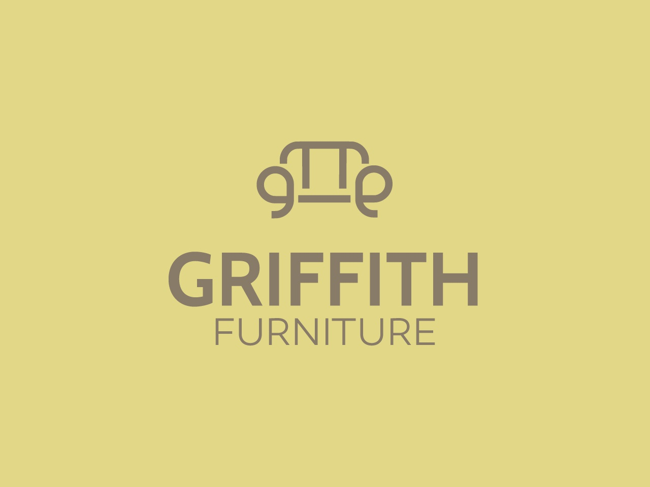 Griffith Furniture brand seat typography web ux vector ui design simple minimalist logo minimal furniture sofa icon branding display handcrafted logo