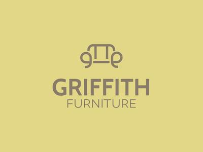 Griffith Furniture brand seat typography web ux vector ui design simple minimalist logo minimal furniture sofa icon branding display handcrafted logo