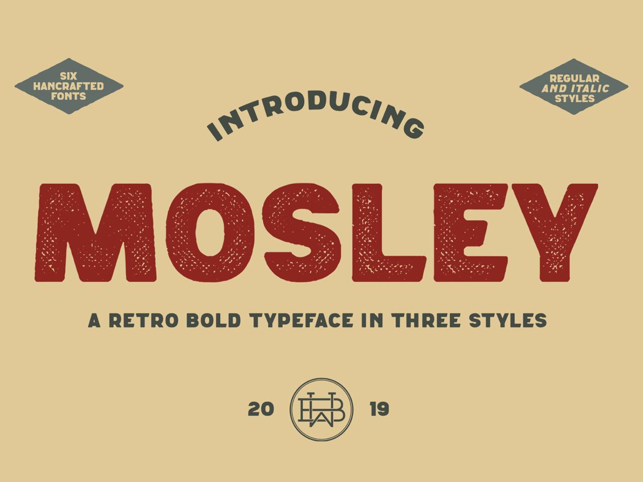 Mosley - a retro bold typeface sans display font label textured brand vinatge font logo font bold font type design type logo vintage display typeface font typography handcrafted retro