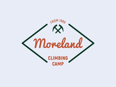 Moreland Camp display font logotype pickaxe axe climbing camp campground camping icon simple brand badge label vintage retro design branding typography handcrafted logo