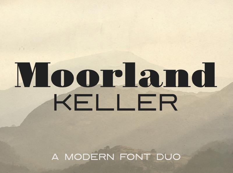 Moorland Keller - a modern font duo badges design elegant font sans serif typeface logotype font duo sans font serif font logo font modern font type design type badge logo vintage retro typeface display font typography