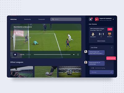 Sport Dashboard - Dark Mode website design website minimal ux ui admin panel dashboard ui video statistic sport score product interface football design admin dashboard admin