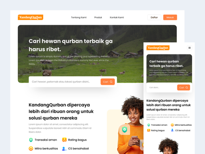 KandangQurban - Farm Landing Page startup website design minimal responsive website design mobile design mockup landing page design daily ui website ux ui