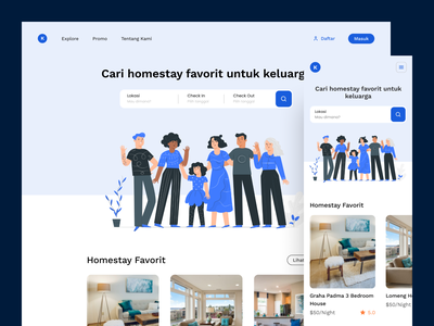 Kelokal - Guesthouse Landing Page daily ui website ux ui guesthouse responsive design minimal website design landing page startup